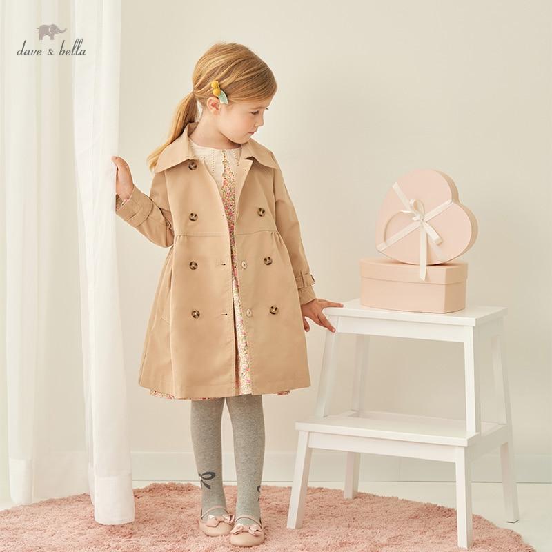 DKD18364 ديف بيلا الخريف الاطفال الفتيات موضة الصلبة زر جيوب معطف مقنع ملابس الأطفال لطيف عالية الجودة ملابس خارجية