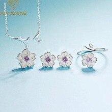 XIYANIKE-ensemble de bijoux en argent Sterling 925 anti-allergie, collier + boucles doreilles + bague fait main, breloque en fleur de cerisier, tendance pour femmes