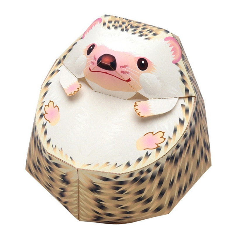 Erizo plegable corte Mini lindo 3D papel modelo Papercraft Animal figura DIY niños adultos hecho a mano artesanía juguetes QD-212