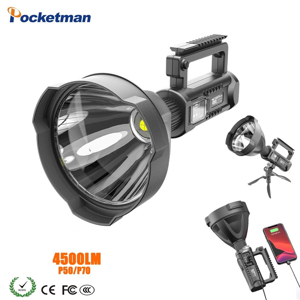 Super brillante Rechagerable linterna LED portátil proyector reflector P50 P70 haz montable en soporte de alta capacidad linterna
