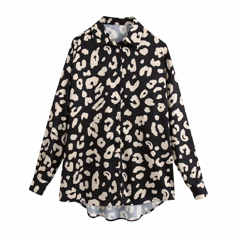 ¡Novedad de 2020! Blusa para Mujer de satén con estampado Animal y dobladillo asimétrico, camisa de manga larga, blusa moderna para Mujer