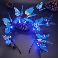 q1fa flower deer antlers headband with led lights butterfly headwear floral headpiece christmas photo props accessories