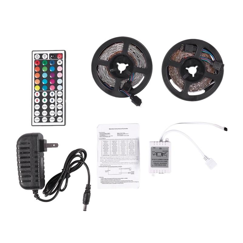 Gran oferta 10M 300Leds 3528 Smd Rgb tira de luz Led + 44 teclas Control Remoto Ir no impermeable Dc12V 60Leds iluminación Flexible Ri