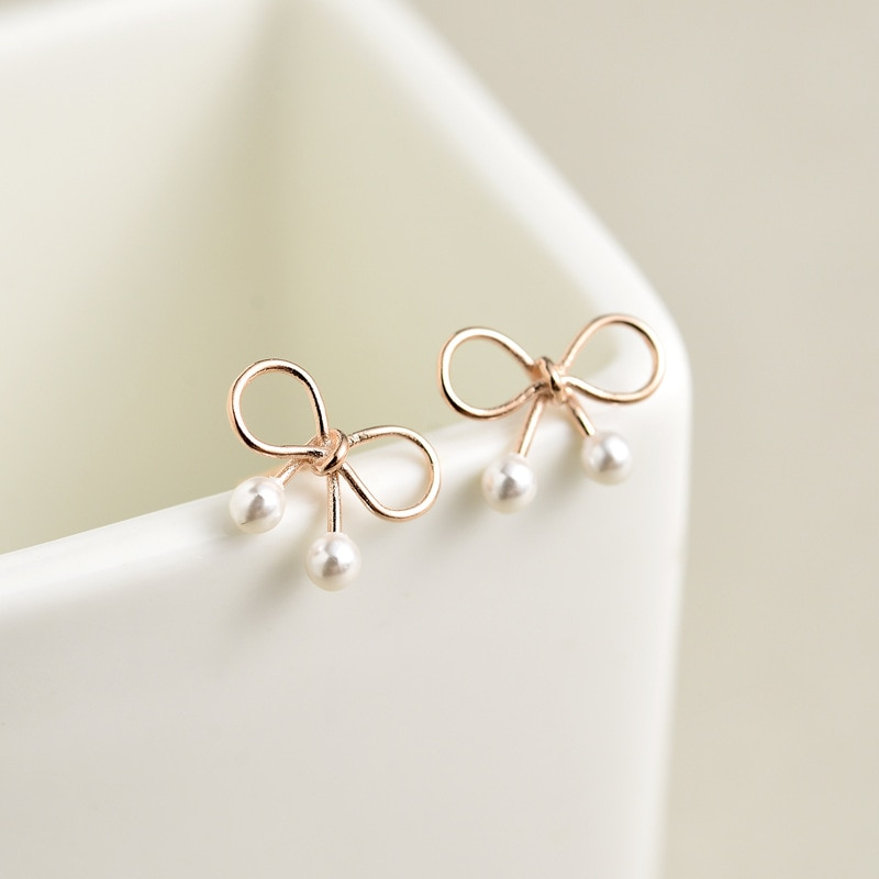 Cor de ouro rosa chapeado bowknot 925 brincos de prata esterlina para as mulheres coreano pequeno arco simulado pérola brincos