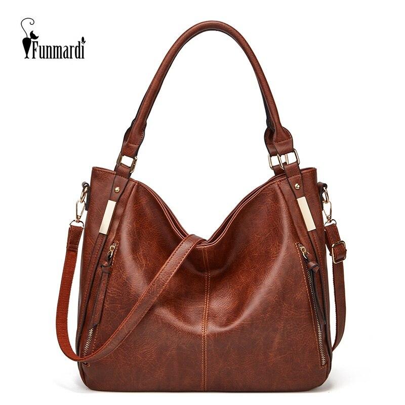 FUNMARDI لينة الجلود حقيبة يد فاخرة للنساء حقائب العلامة التجارية مصمم حقائب اليد عالية السعة حقيبة كتف السيدات حقائب اليد WLHB2213