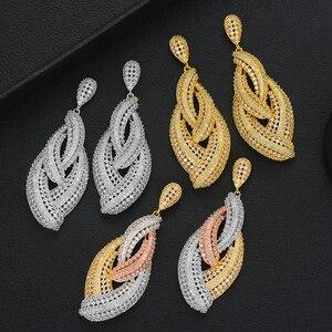 LARRAURI New Luxury Geometric Indian Nigerian Women Wedding Earrings Cubic Zirconia Drop Pendant Drop Dangle Earrings For Girls