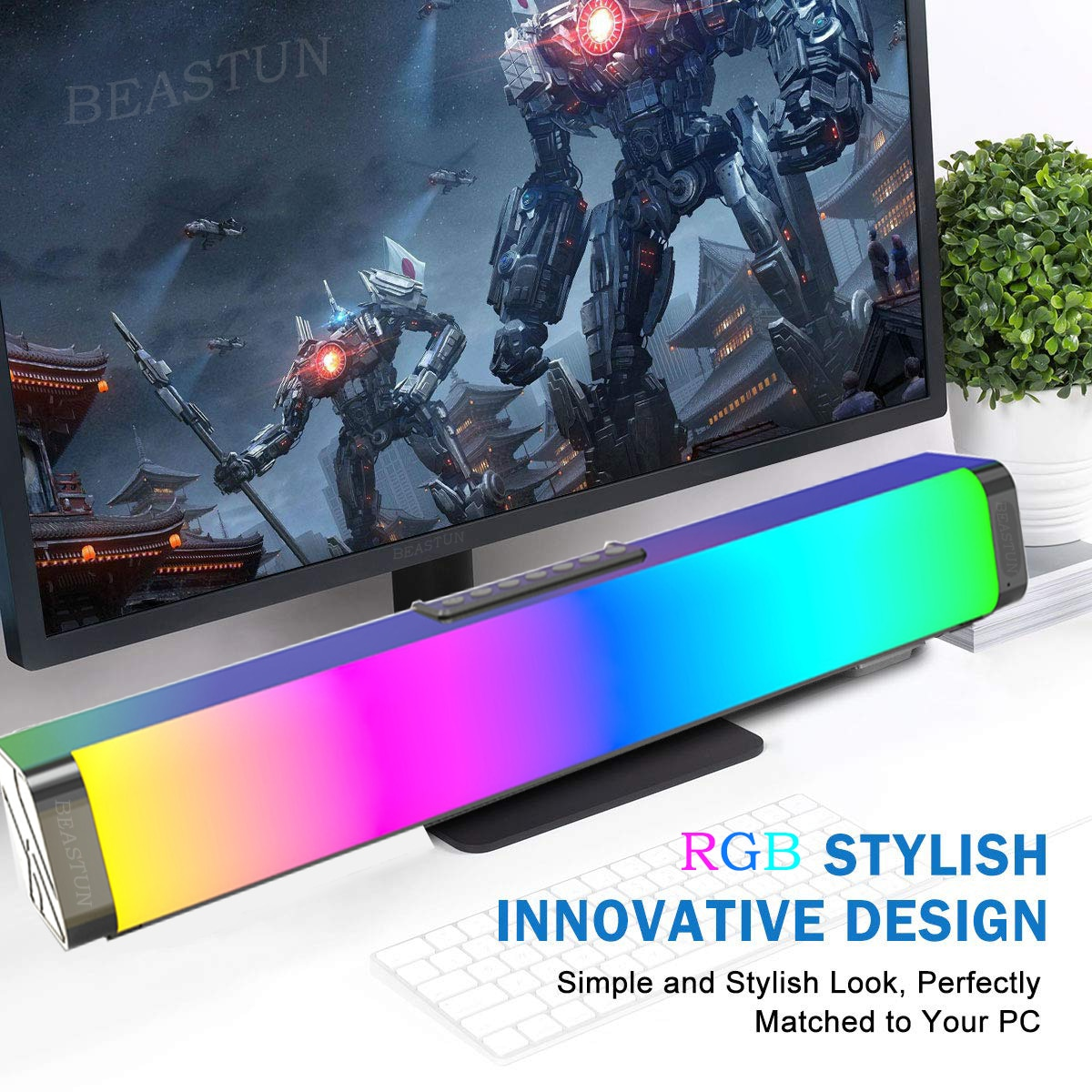 BEASTUN Computer Game Speakers with RGB Light Powerful Bass 3D Stereo Sound Bar USB AUX Optical Soundbar 20W Speaker for PC TV enlarge