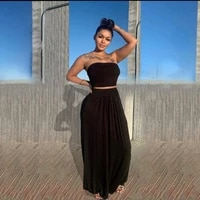 european and american womens sexy tube top half skirt solid color two piece suit women dresses summer 2021 dresses for women