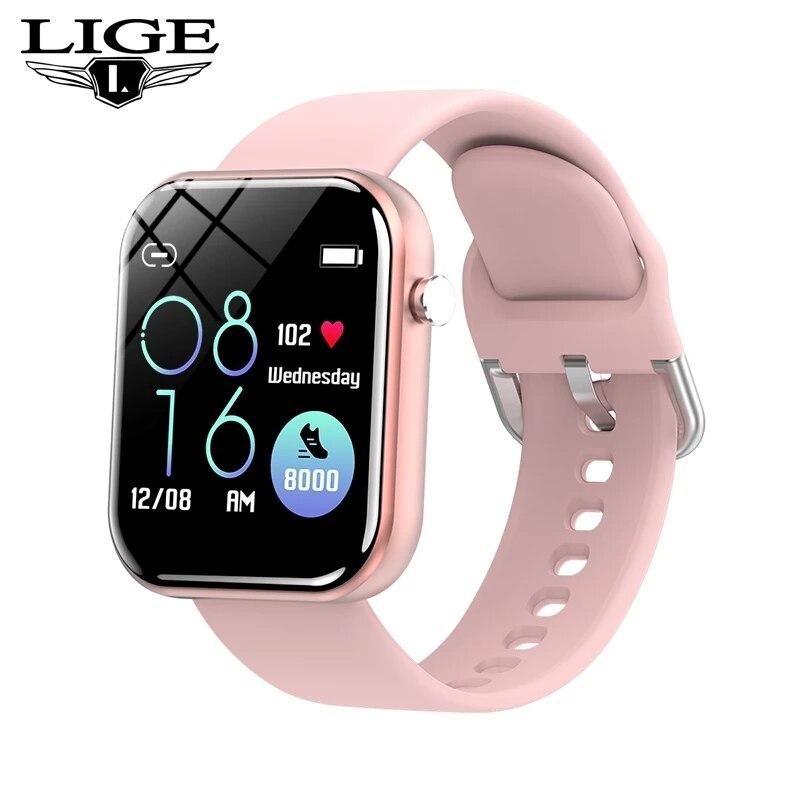 LIGE Women Men Smart Watch Luxury Blood Pressure Heart rate Fitness Watches Fashion Calorie Sport Wristwatch relogio feminino