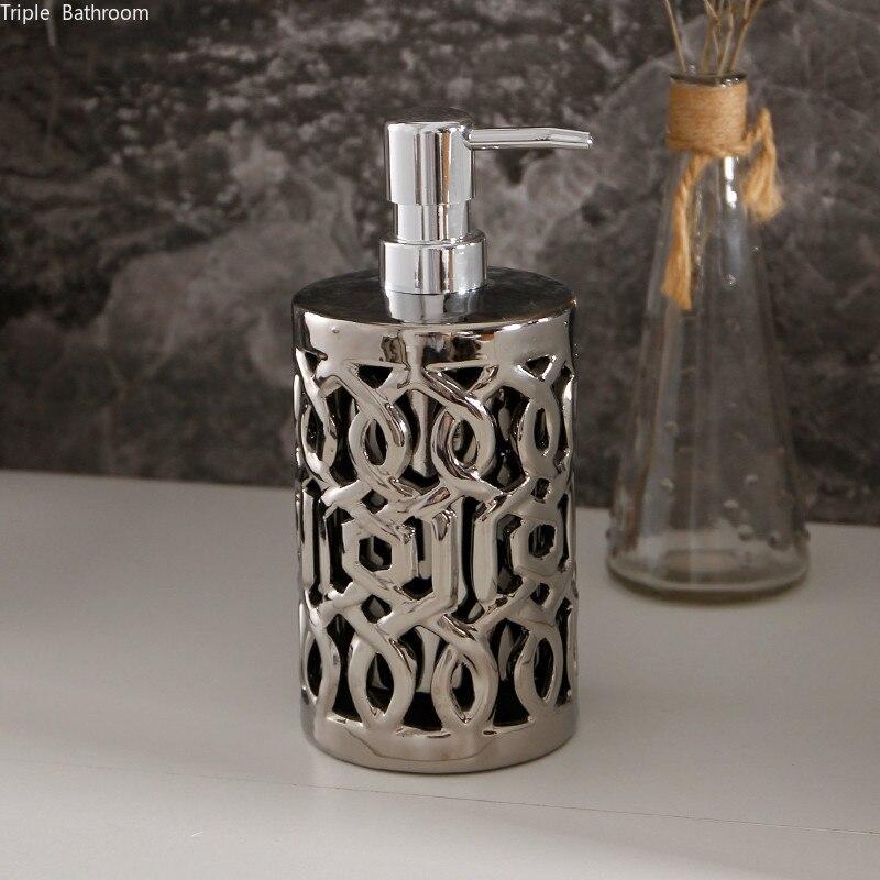 Creativity Silver Ceramic Lotion bottle Double layer Hollow out Soap Dispenser Home hand sanitizer bottles Bathroom Decoration