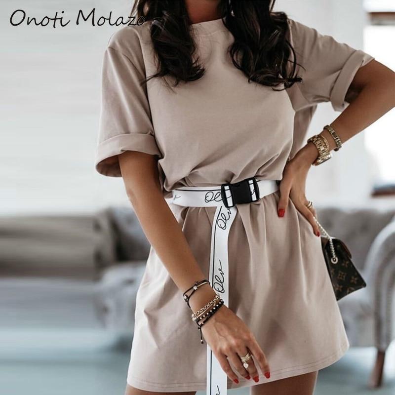 Onoti Molazo Casual Women Mini Dress Summer Vogue Vestidos with Sashes Elegant Ladies Short Dresses Chic Female 2020 New Fashion