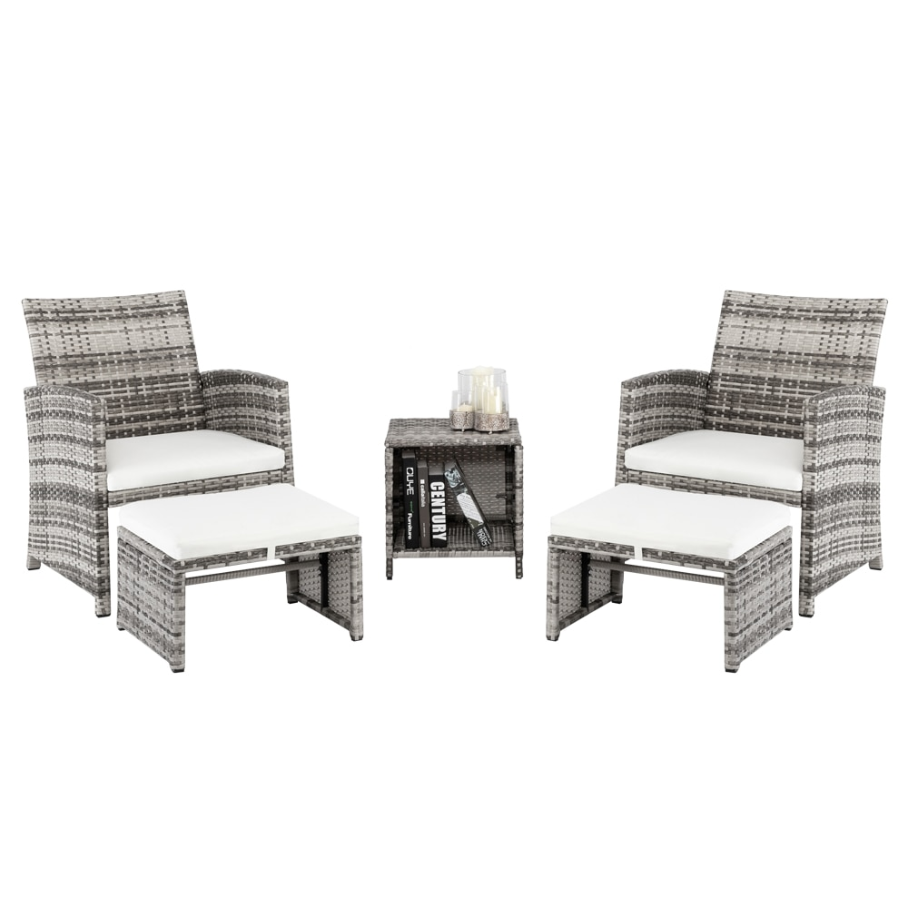 5 قطعة 2 الكراسي 2 مساند 1 طاولة القهوة مزيج أريكة عالية الجودة PE الروطان و الحديد إطار الباحة الأثاث رمادي التدرج [US-W]