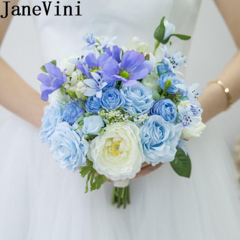 JaneVini синие цветы искусственные цветы для невесты Букет 2019 пляж Hochzeit белая роза Свадебный букет цветов Ramo Flores Novia