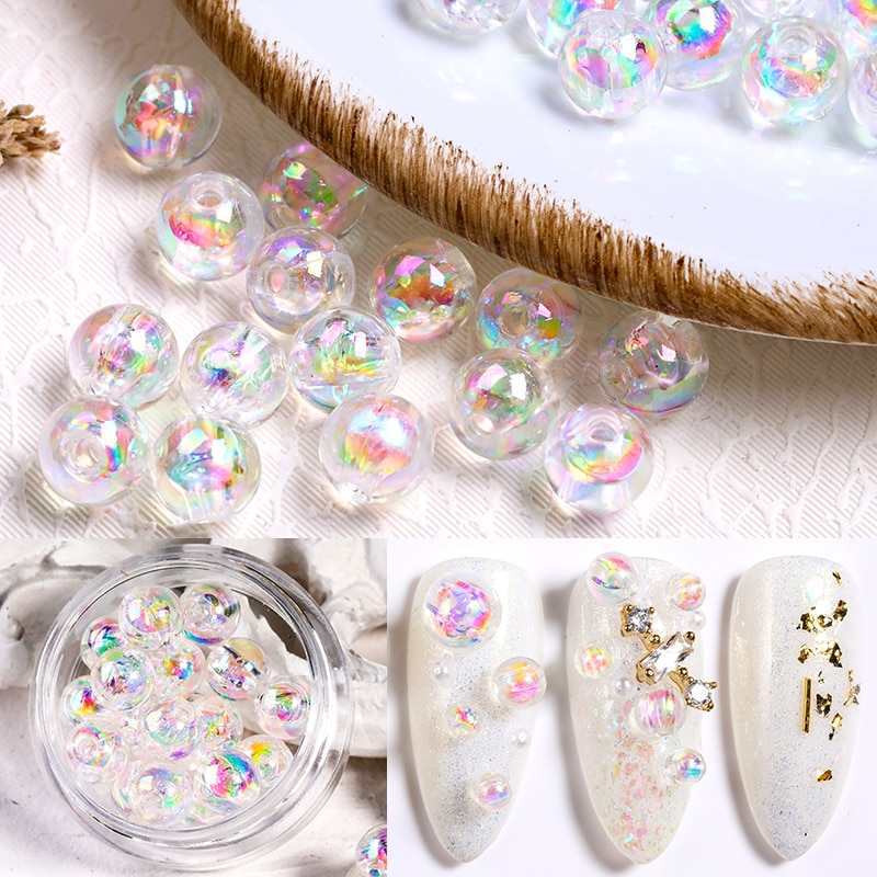 1 Box 3D Glimmering Beads 3mm 4mm 6mm Crystal Mixed Nail Rhinestones Tiny Epoxy Resin Nail Art Glass Ball DIY Jewelry Decoration