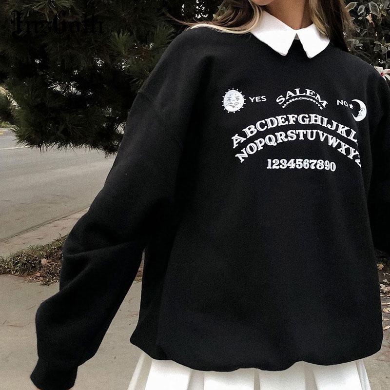 InsGoth Black Grunge Oversized Hoodies Gothic Harajuku Streetwear Chic Letter Print Hoodies Women Autumn Long Sleeve Hoodies