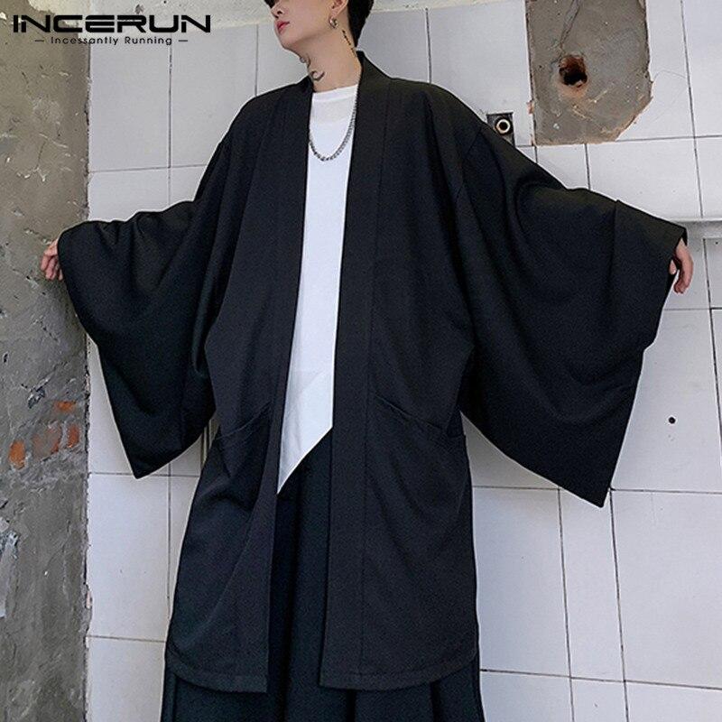 Cárdigan abierto con costura para hombre, ropa de calle holgada de manga larga, gabardina 2020 Estilo Vintage Punk, abrigo largo liso, capa para hombre, 5XL