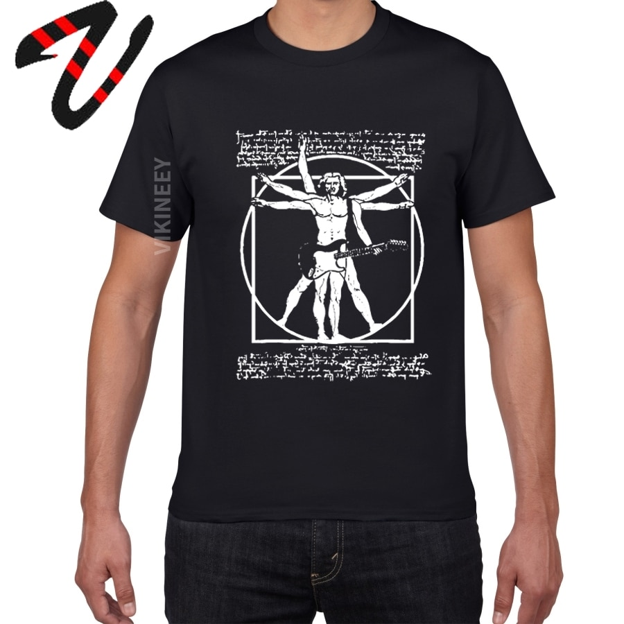 Да Винчи гитара забавная футболка для мужчин витрувиан человек рок группа винтажная графическая музыка Новинка уличная Мужская футболка м...