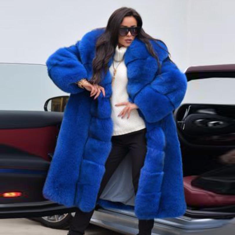 معطف الشتاء الفراء الحقيقي للمرأة 2021 عصري الأزرق الملكي الجلد كله حقيقي الثعلب الفراء معاطف مع كبير بدوره إلى أسفل طوق معاطف فاخرة