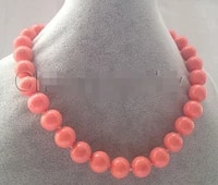 beautiful 18 12mm perfect round pink coral color south sea shell pearl necklace aaa style fine noble real natural free shipping
