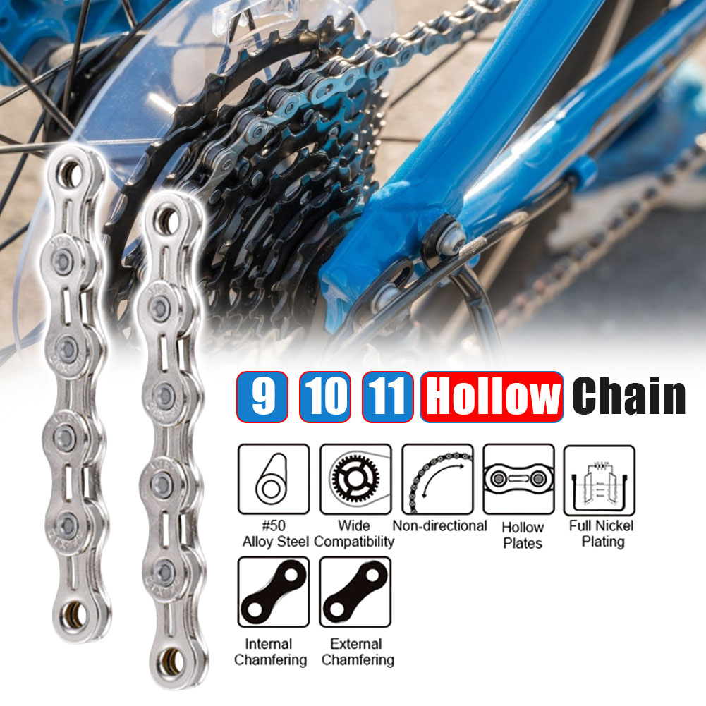 Road Bike MTB Bicycle Chain 8/ 9/10 /11 Speed Hollow Ultra Light Chain Bicycle General Chain Variable Speed Half Hollow Chains