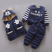 Mickey Minnie Baby Boys Girls Clothes set winter Warm jacket Coat + Sweatshirt + Pants 3Pcs Plus velvet Children clothing Suit