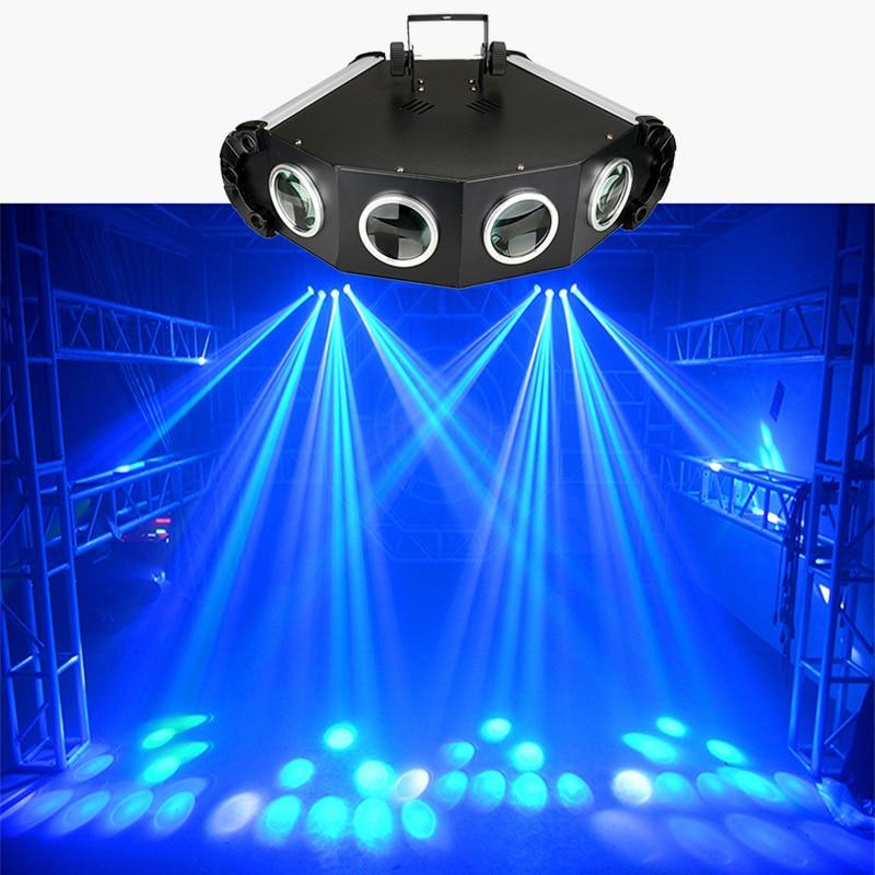 مصباح ديسكو LED احترافي ، شعاع زخرفي بأربع عيون للمسح الضوئي بالليزر DMX 4 عدسات للدي جي والعائلة والموسيقى والحفلات والكريسماس