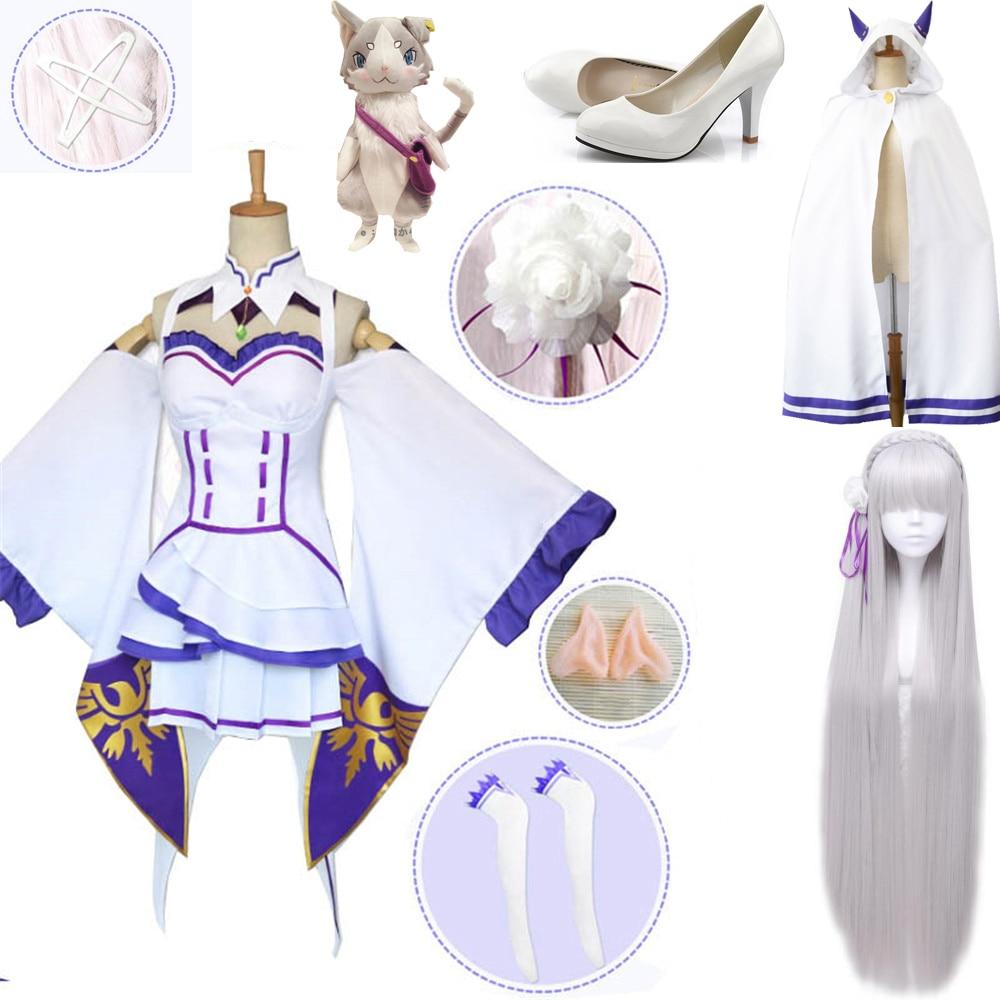Vestido con tocado para fiesta de Halloween Re Zero karajimeru Isekai Seikatsu Emilia pelucas disfraces Cosplay Mujer