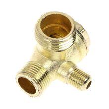 Filetage mâle 3 voies métal compresseur dair clapet anti-retour ton or # Aug.26