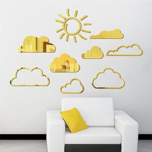 3D Sun Clouds Mirror Wall Stickers Acrylic Mirror Wall Decals DIY Removable Sun Pattern Modern Mirror Surface Wall Decor for Bed