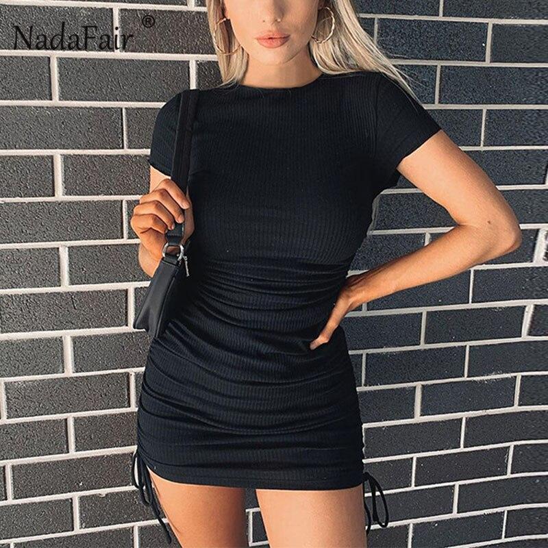 Nadafair-Vestido corto de punto para mujer, Vestido corto de verano con cordón doble y fruncido, Mini vestido elástico Sexy para discoteca, 2020