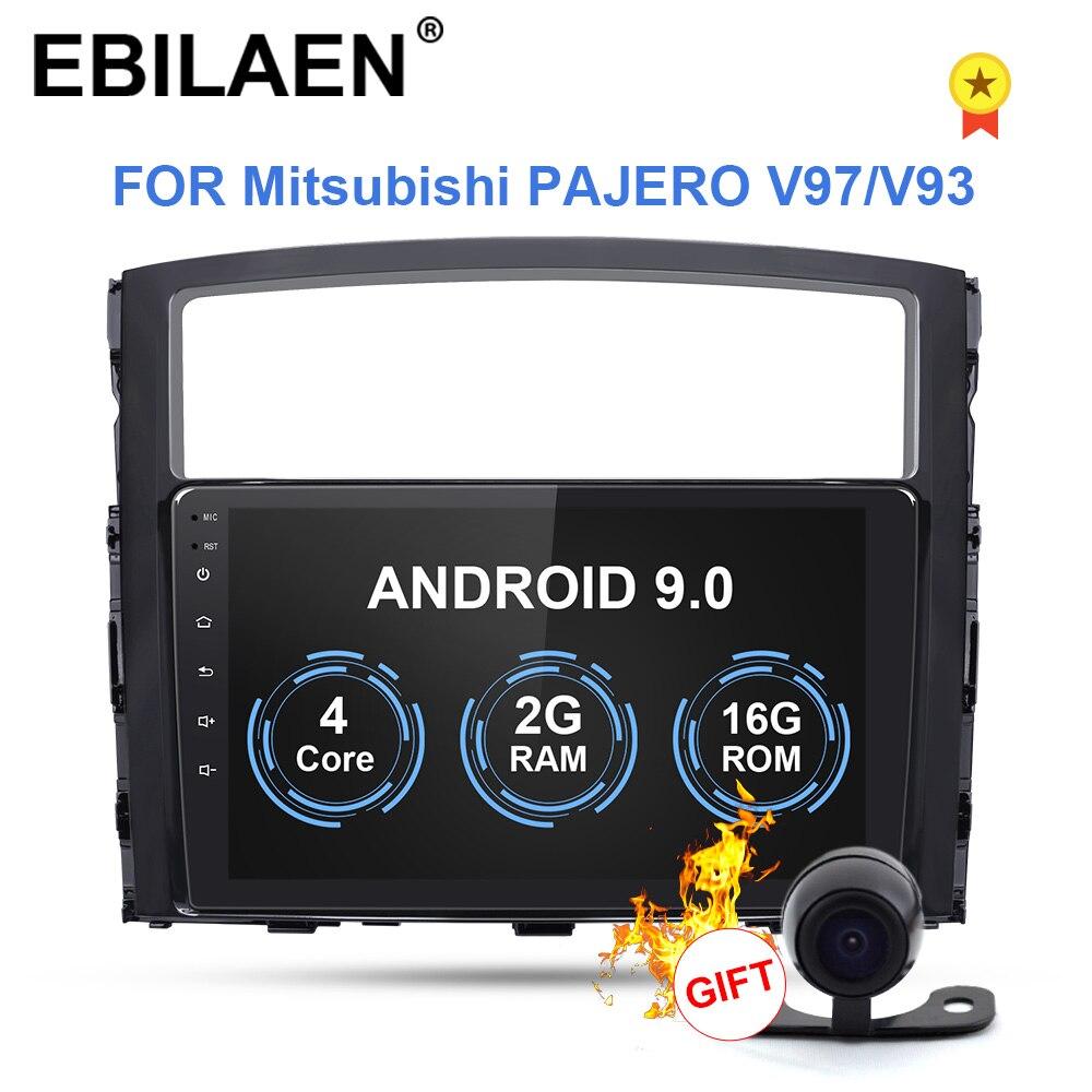 Ebilaen carro cassete dvd player multimídia para mitsubishi pajero 4 2din android 9 rádio gps navegação v97 v93 câmera traseira