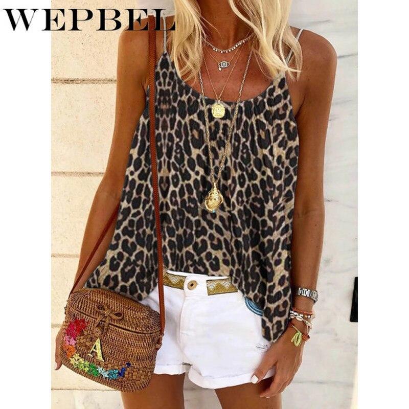 WEPBEL, camisa de verano para mujer, Camiseta holgada con estampado de leopardo, camiseta sin mangas con tirantes, camiseta femenina de talla grande a la moda para la playa