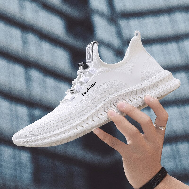Zapatillas de correr para hombre ligeras y cómodas, informales, blancas, transpirables, para caminar, negras