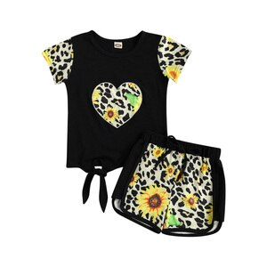 Kids Girls Summer Clothing Sets Fashion Kids Girls Short Sleeve Summer T-shirt Tops+Shorts Pants Casual Leopard Print Tracksuits