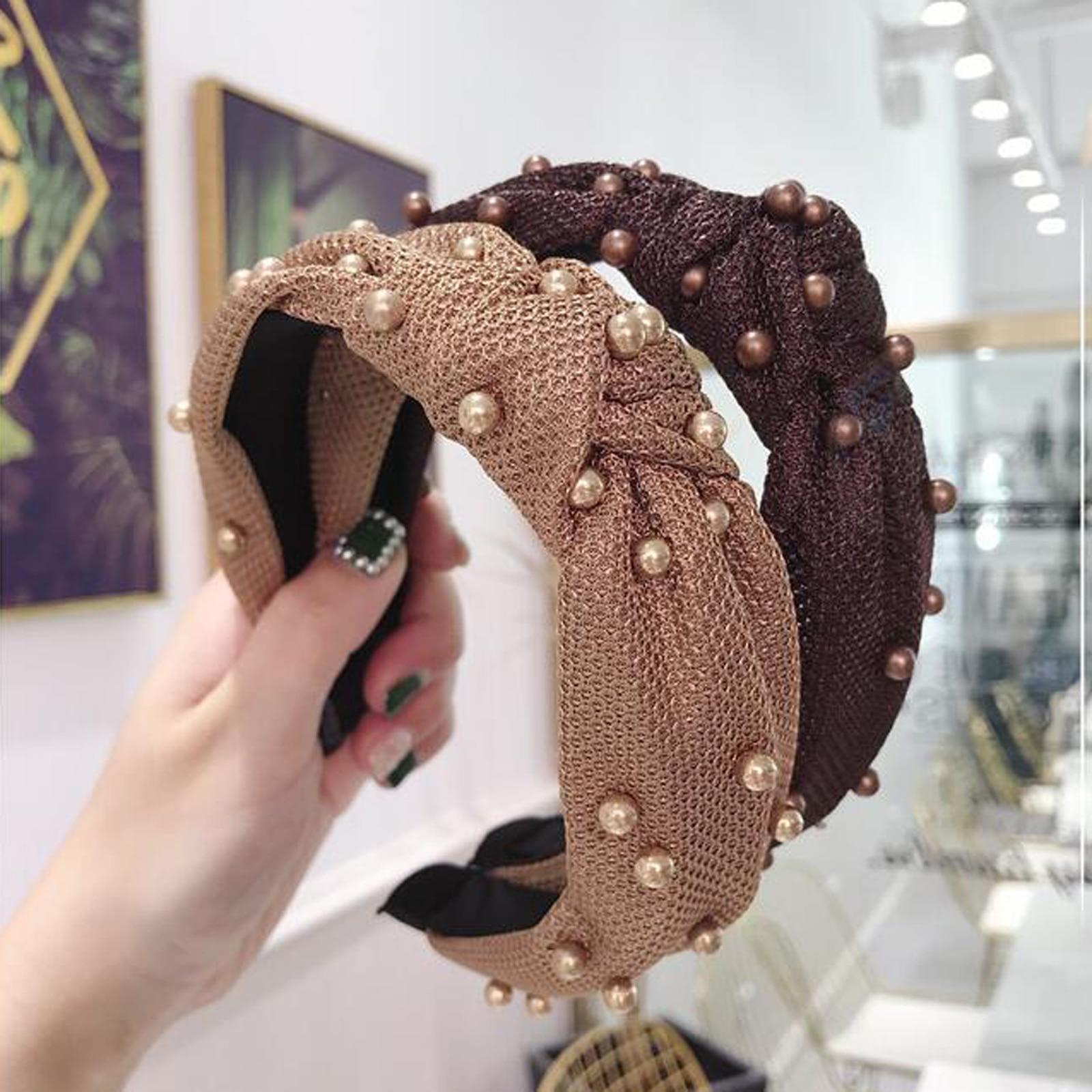 New Fashion Solid Headwear Women Headband Pearls Hairband Girls Party Travel Headwear Hair Band Adult Hair Accessories