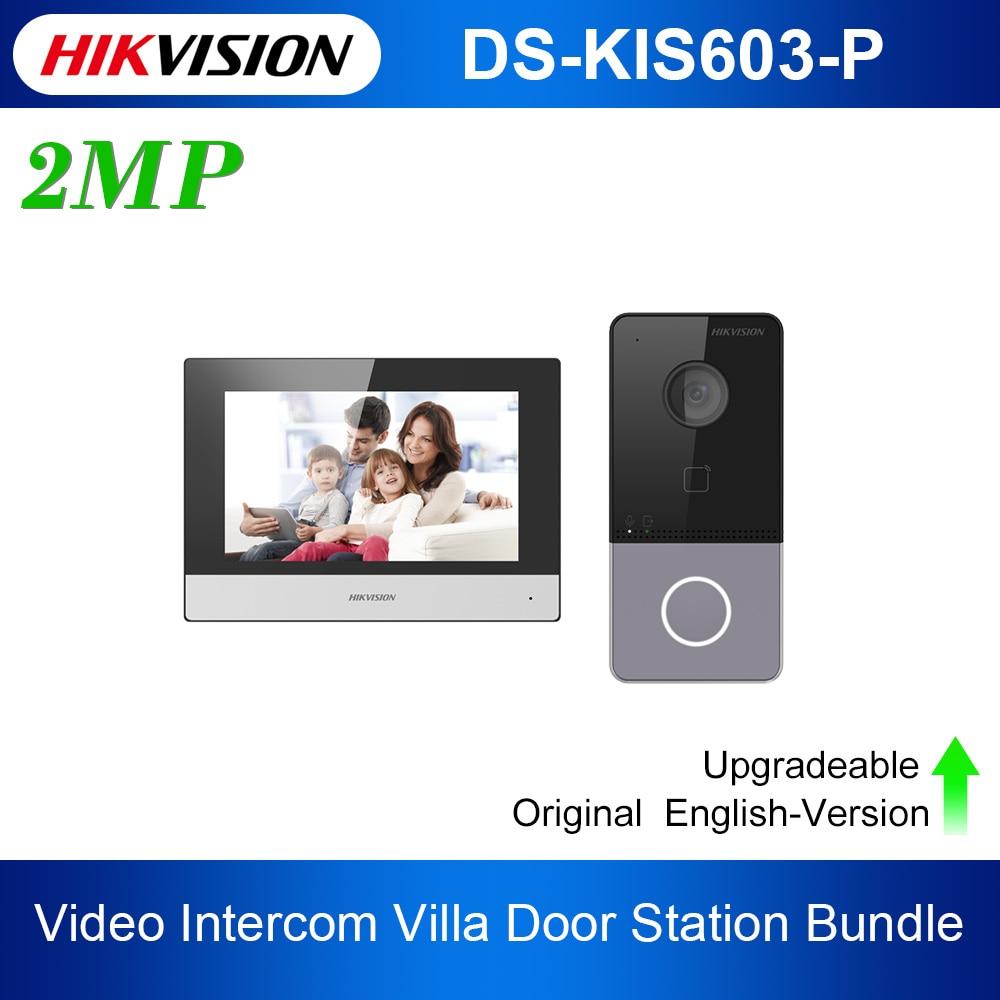 Original Hik DS-KIS603-P Video Intercom Kit DS-KV6113-WPE1(B) and DS-KH6320-WTE1 Standard POE Doorbell Door Station WIFI Monitor