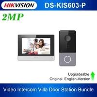 original hik ds kis603 p video intercom kit ds kv6113 wpe1b and ds kh6320 wte1 standard poe doorbell door station wifi monitor