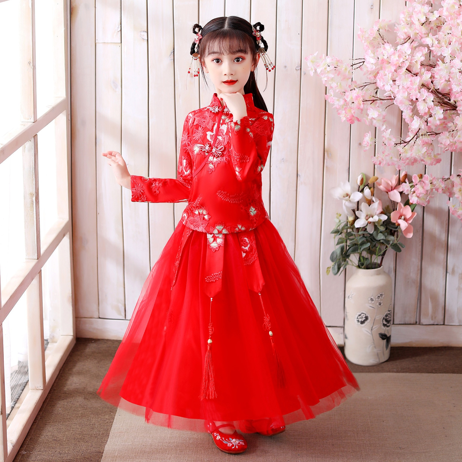 Red Mesh Dress with Bowknot for Girls Toddler Baby Kids Girls Lunar Chinese New Year Tang Suit  Princess Dresses Set
