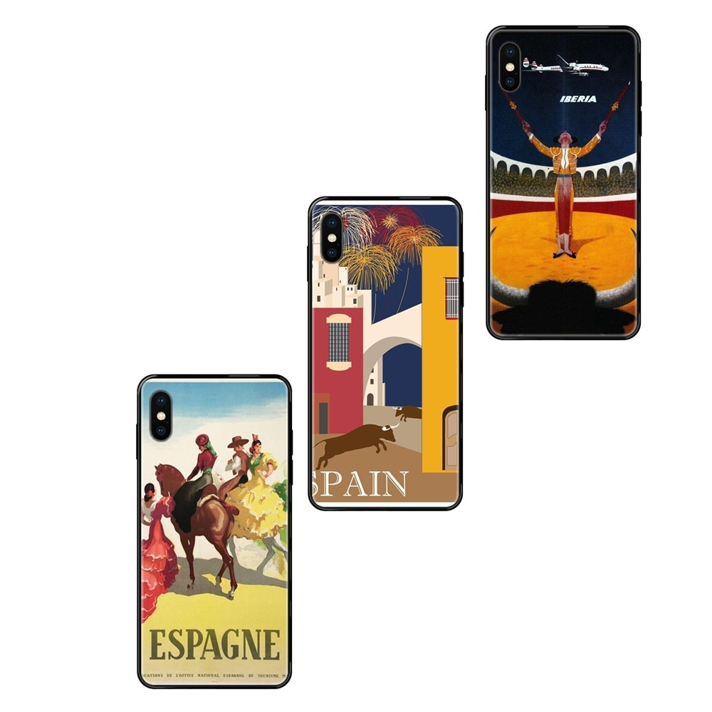 Famous Scenery Spain Travel Poster For Huawei Honor 6A 7A 7X 8C 8X 9 9A 9I 9X 10 10I 20 20I 20S Lite Pro Black Soft TPU Case