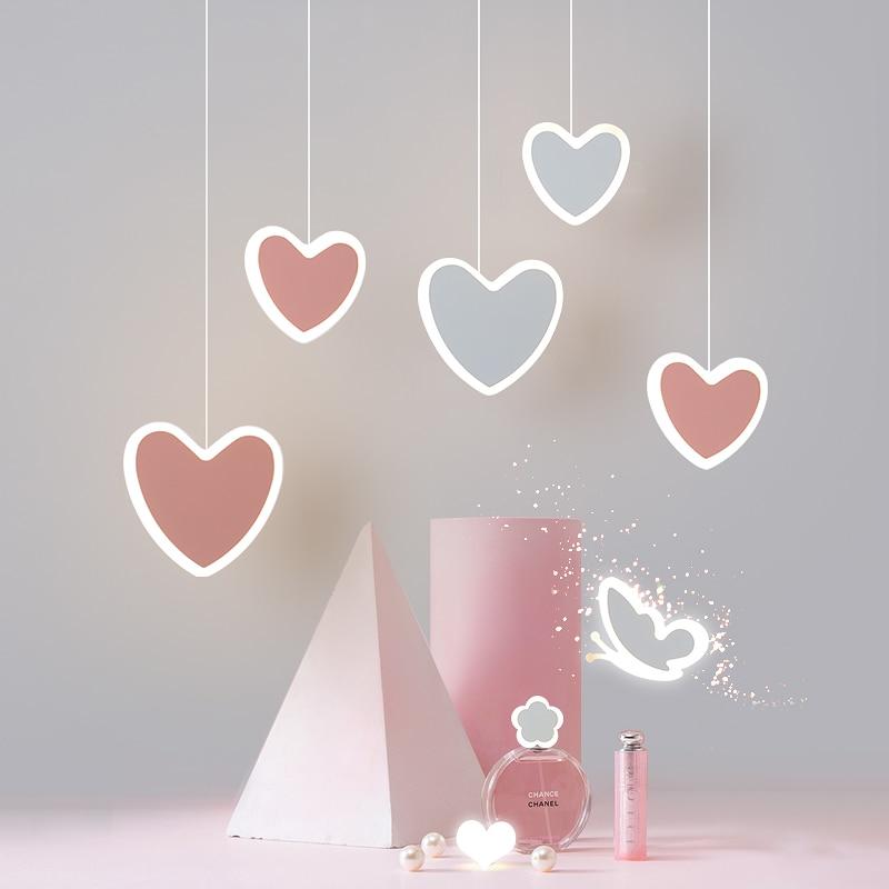 creative cute heart-shaped LED pendant lights net red shop/aisle/bedside children's lamp restaurant bar 2 head pendant lamp