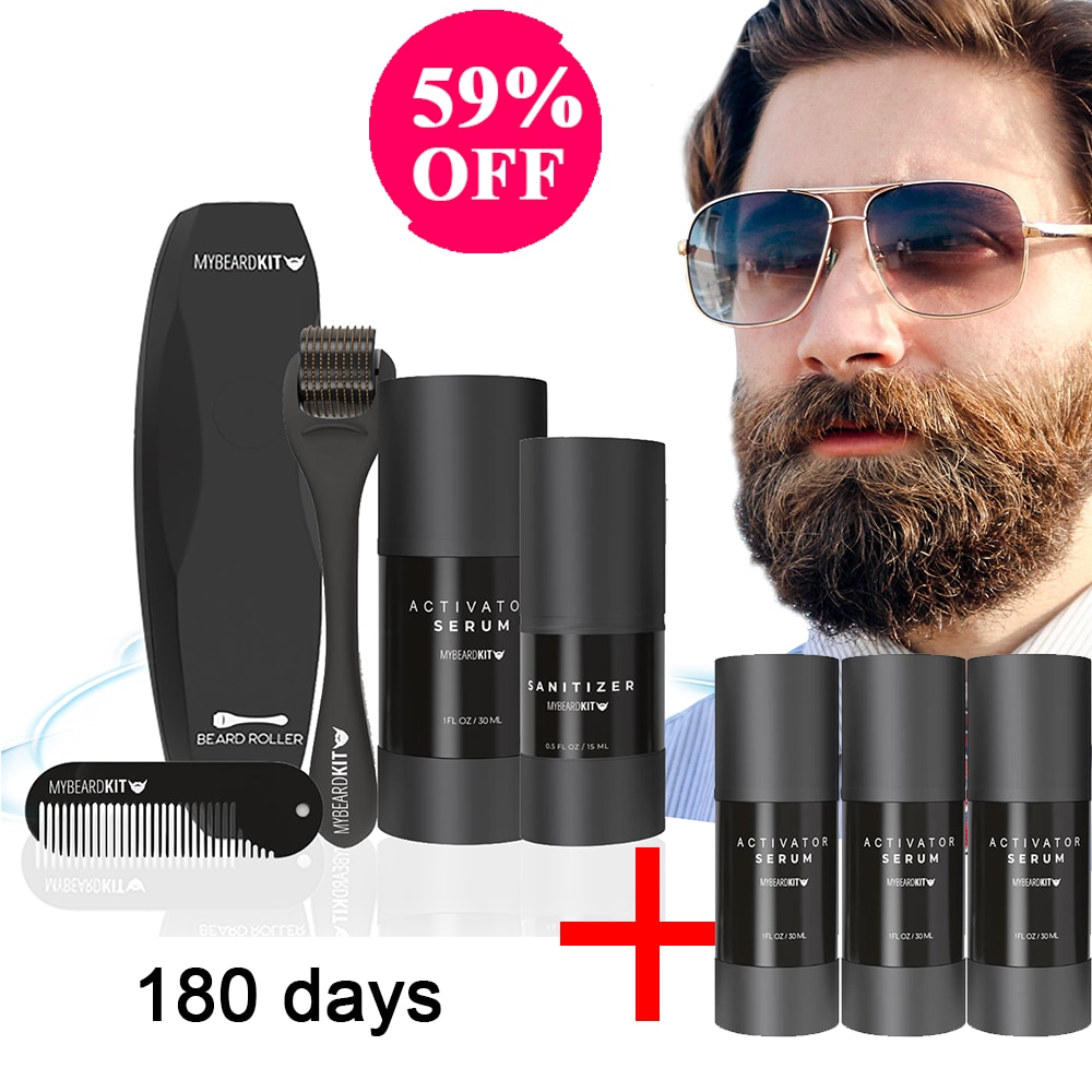 Men Beard Growth Kit Hair Growth Enhancer Thicker Oil Nourishing Conditioner Beard Grow Set with Com