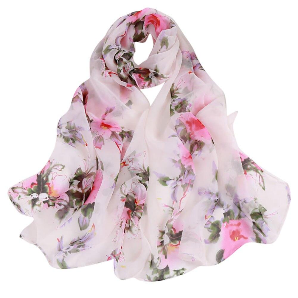 Las mujeres de impresión de flor bufanda de verano delgada suave envoltura damas Floral elegante chal transpirable gasa bufandas pañuelo Tippet