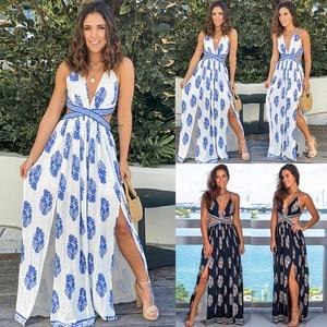 Yg Brand Women's Clothing 2021 Summer New Bohemian Long Skirt Split Bandage Party Dress Backless Sexy Retro Print Dress