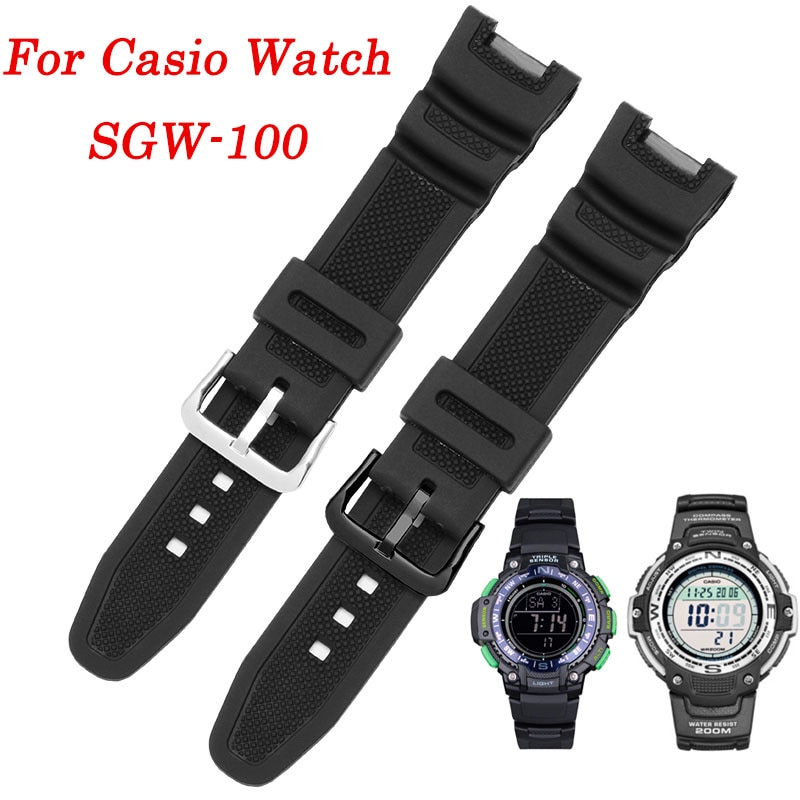 Soft Resin Watchband for For Casio SGW-100 Wristband Refit Silicone Black Watch Bracelet Rubber Strap Watches Accessories