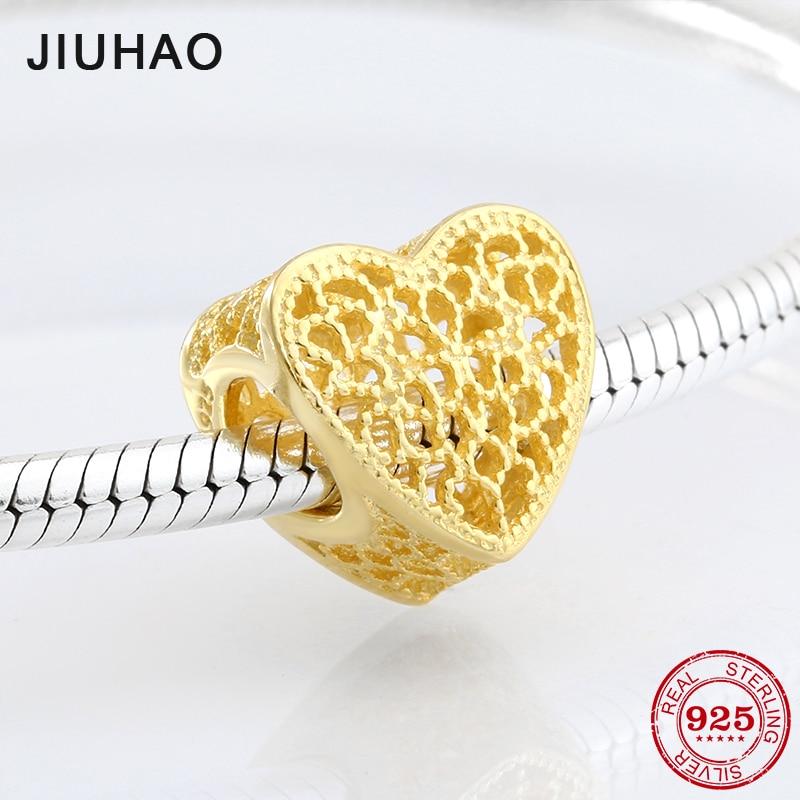 2018 fashion golden heart openwork 925 Sterling Silver beads Fit Original Pandora Charm Bracelet Jewelry making