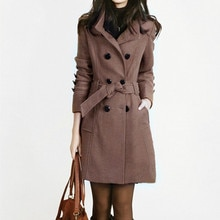 New Women Long Coat and Jacket Autumn Winter Elegant Women Wool Coats Long Jackets Korean Version Slim Trench Coat with Straps