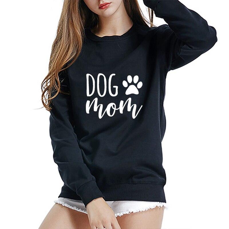 100% algodão outono cão mãe moletom das mulheres manga longa o pescoço casual camisola pata impressão kawaii pulôver poleron