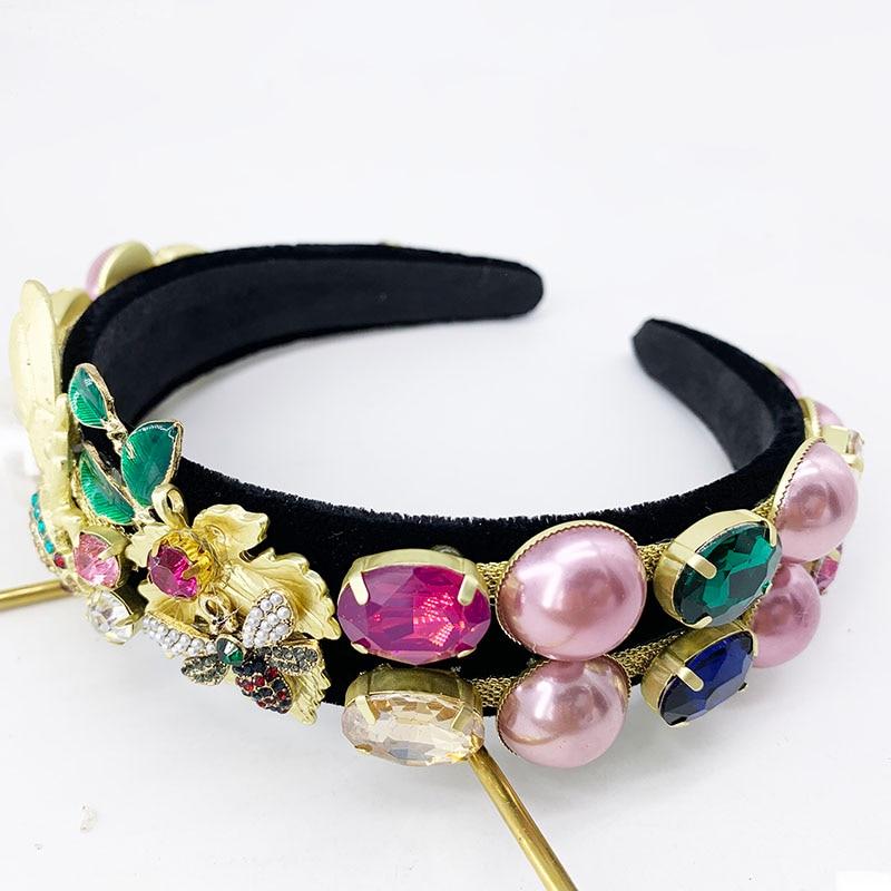 Pearl Headband Tiaras,Crown,Bee Hairband ,Gold Crown ,Hair pins for women,Hair Hoop Big Miraculous Ladybug Hair Ornament