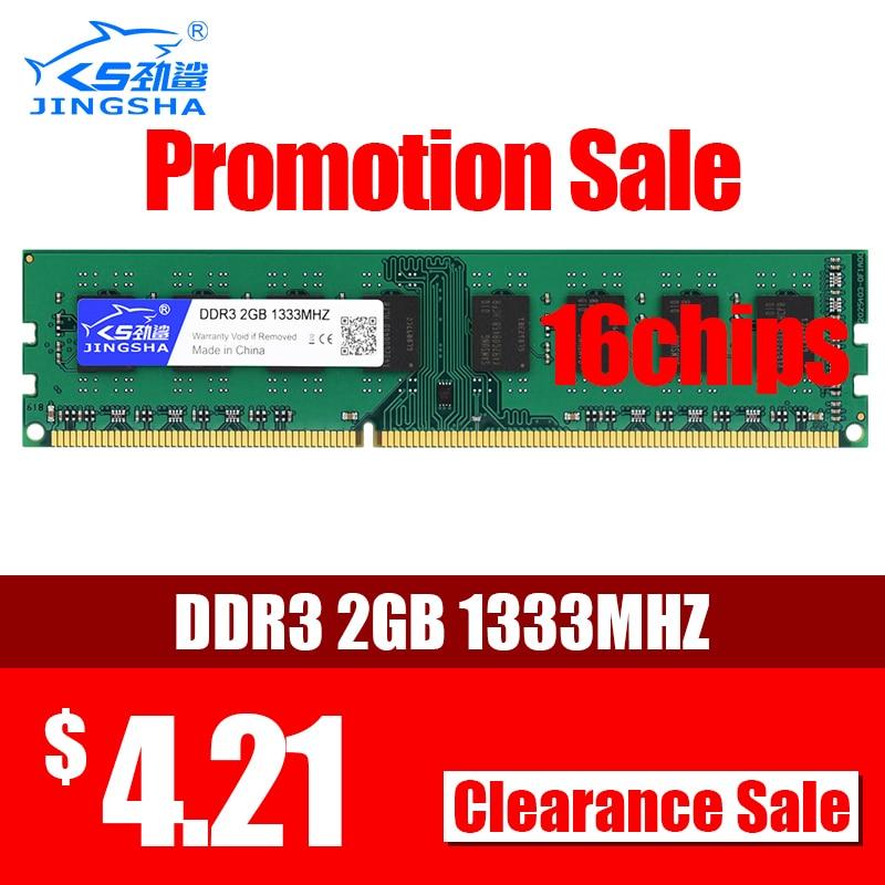 Memoria de escritorio JINGSHA DDR3 2GB 1333mhz 16 Chips 240pin 1,5 v RAM de escritorio para Intel y AMD placa base