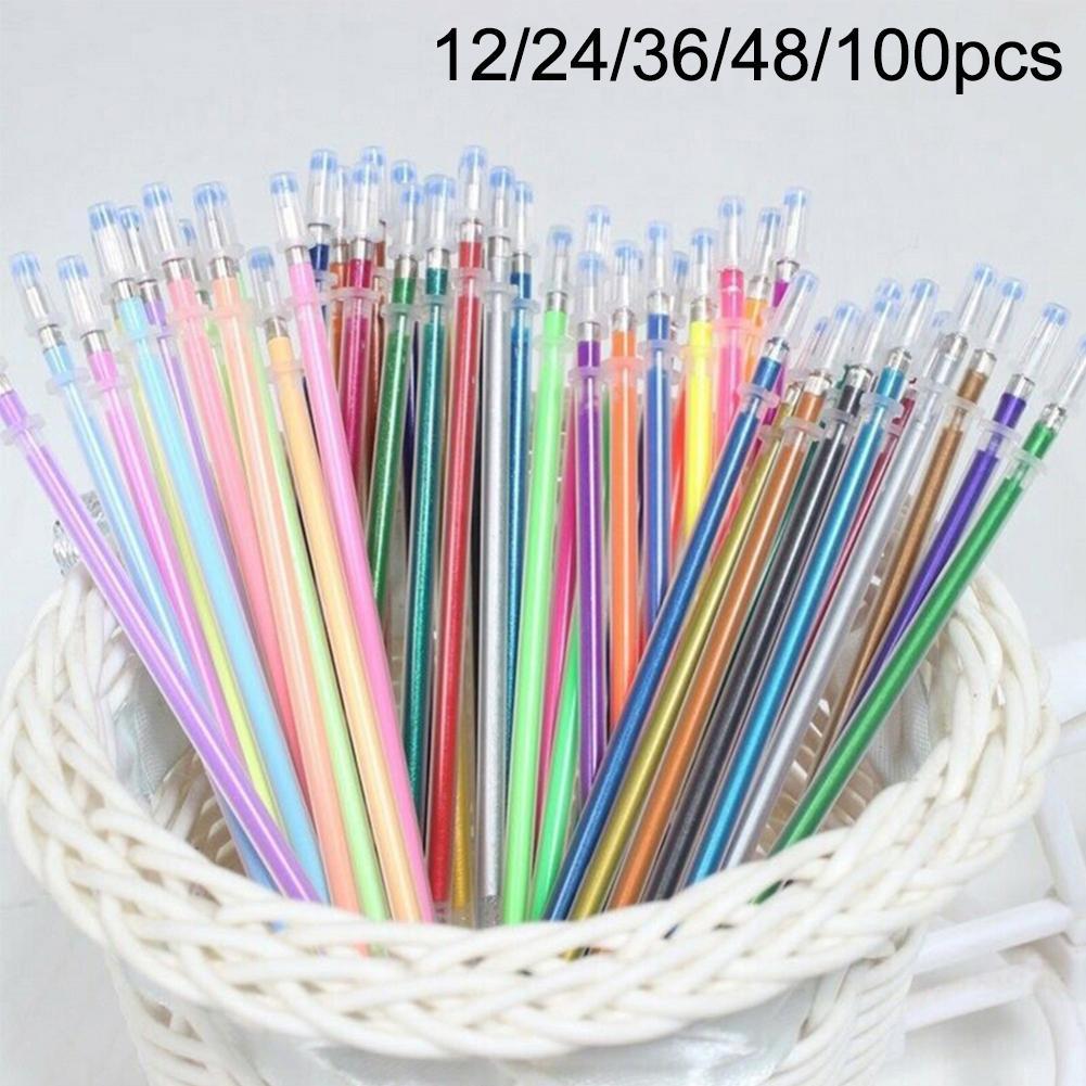 Bolígrafo de plástico para pintar y escribir Multicolor, de 1mm, de 12/24/36/48/100 Uds., recambio de plástico reemplazable, reloj de pulsera, plumas